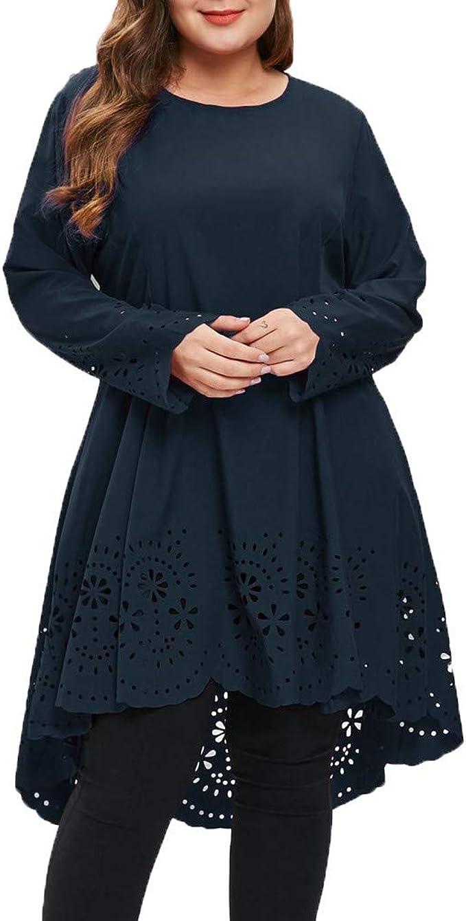 Battnot Damen Kleider Grosse Grössen Elegant Spitze Mini Abendkleid, Frauen  Oversize Sexy Rundhals Langarm Durchbrochene Muster Festlich Hochzeit