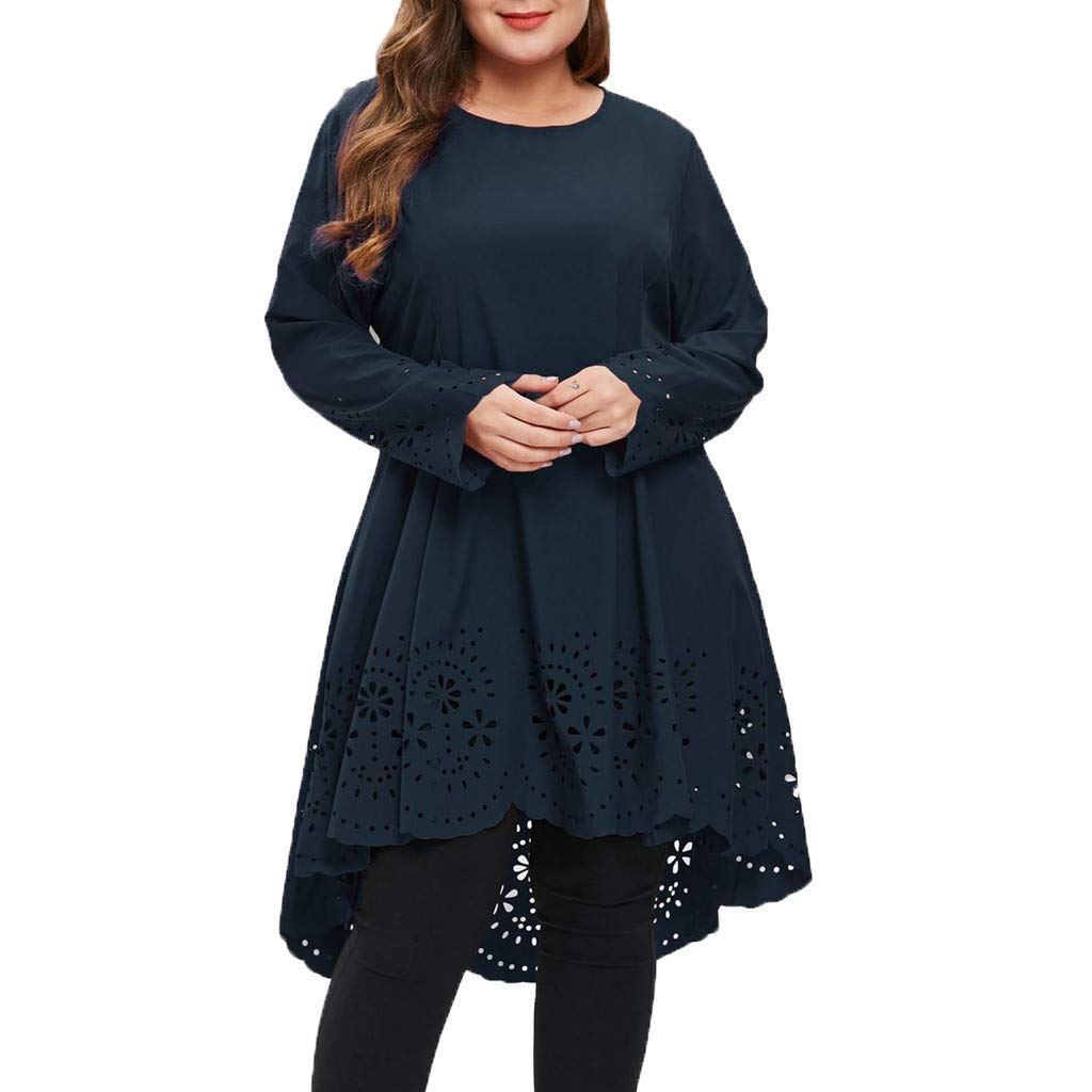 Women Fashion O-Neck Long Sleeve Dress,Mosunx Ladies Plus Size Laser Cut High Low Hollow Out Dresses (XL, Dark Blue)