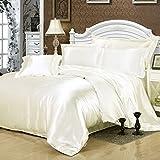 White Silk Bedding Set Duvet Cover Silk Pillowcase Silk Sheet Luxury Bedding, King Size