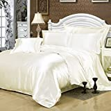 White Silk Bedding Luxury Bedding Silk Duvet Cover Set Silk Duvet Cover Silk Pillowcase, Twin Bedding