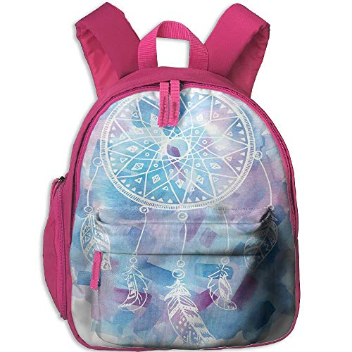 (Haixia Child Boys'&Girls' Bookbag with Pocket Feather Abstract Dream Catcher with Watercolor Background Artistic Brushstrokes Decorative Pale Blue Lilac)