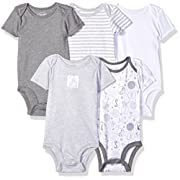 Lamaze Baby Organic Essentials 5 Pack Shortsleeve Bodysuits, Grey, 3M