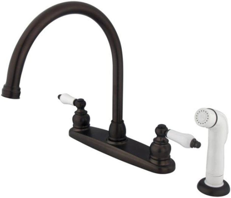 Victorian Double Handle Centerset Goose Neck Kitchen Faucet with Porcelain Lever Handles and White Side Spray Finish Oil Rubbed Bronze