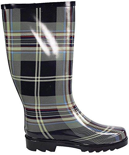 Sunville Womens Mid Calf Waterproof Rubber Garden Rainboots Black Grey Plaid ZHXBbZgTa
