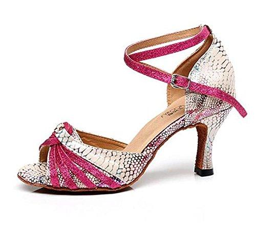 Zapatos de mujer Ballroom Taogo latino Zapatillas de baile Serpentina Sandalias talla 35 a 41 7.5cm Heel