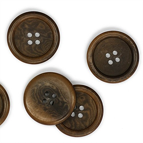 Set of 3 Classic Coffee Brown Corozo Overcoat Buttons, 40 Line (Tagua Set Nut)