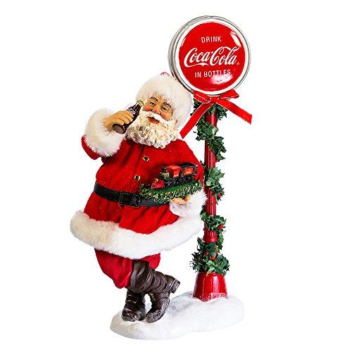 Kurt Adler 14'' Santa with LED Light-Up Coke Sign by Kurt Adler