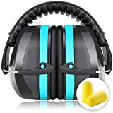Fnova 34dB Highest NRR Safety Ear Muffs - Professional Ear Defenders for Shooting, Adjustable Headband Ear Protection / Shooting Hearing Protector Earmuffs Fits Adults to Kids (Sky blue)
