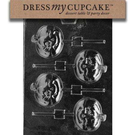 Dress My Cupcake DMCH106 Chocolate Candy Mold, Winking Pumpkin Lollipop, Halloween -