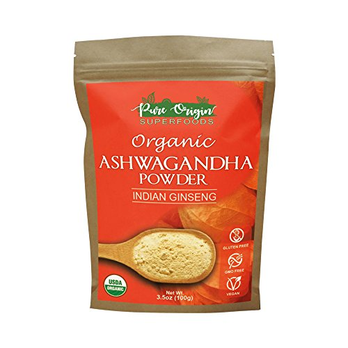 Organic Ashwagandha Powder (Indian Ginseng) - USDA Certified Organic, 3.5 Oz - Herbal Supplement That Promotes Vitality & Strength - Stress-free Living - Extract For Increased Absorption