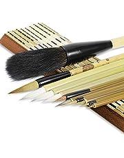 Chinese Calligraphy Brush Writing Brush Set Japanese Sumi Painting Drawing Brushes Kanji Art Brush for Chinese Painting Ink Brush 11 Pieces with Roll-up Bamboo Brush Holder for Beginner