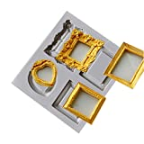 Star-Trade-Inc - Silicone mold heart mirror/picture frame love cake decoration tools fondant mould kitchen Baking accessories T0684
