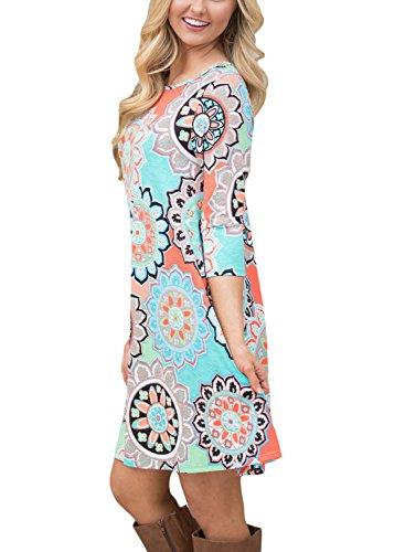 Dearlovers Femmes Imprimé Floral Longue Robe Décontractée À Manches Longues Avec Poches Muti-05
