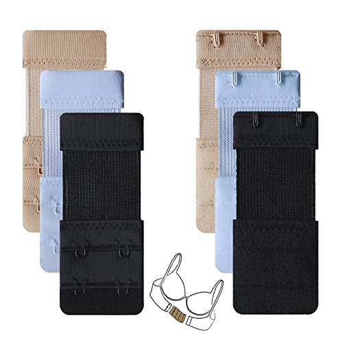 Bra Extender 2 Hook 2 Rows 6pcs-Pack Elastic Stretch Pregnanct Adjustable Bra Extension Strap for Women