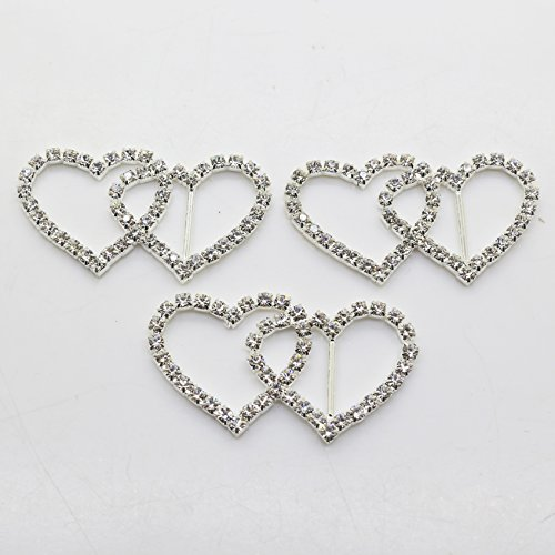 (20pcs 50mm x 25mm Double Heart Shaped Rhinestone Buckle Slider for Wedding Invitation Letter Christmas Buckles)