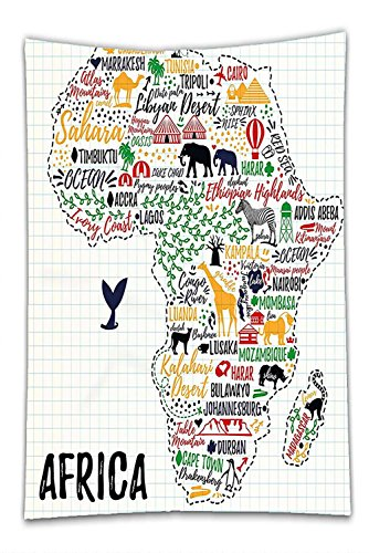 Nalahome Fleece Throw Blanket Quote Colorful Lettering of African Countries in Africa Continent with Animals Art Print Multicolor by Nalahome