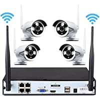 iSmart 4 Channel Wireless NVR Kit with 4 720P IP Security Camera System K9504W+PE3010-W