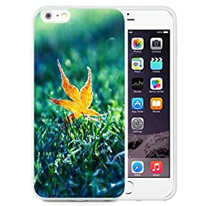 Unique and Attractive TPU Cell Phone Case Design with Golden Autumn Leaf Sunshine Grass iPhone 6 plus 4.7 inch Wallpaper in White