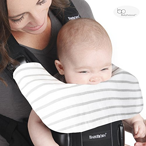 Baby Bjorn Carrier One Drool Cover 100% Organic Bamboo K'un Teething Pads w/Grey & White Striped Pattern by Baby Preferred