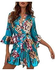 CapsA Women's Lace-Trim Kimono Style Short Satin Robe Sleepwear Nightdress Lingerie Robes Underwear Pajamas