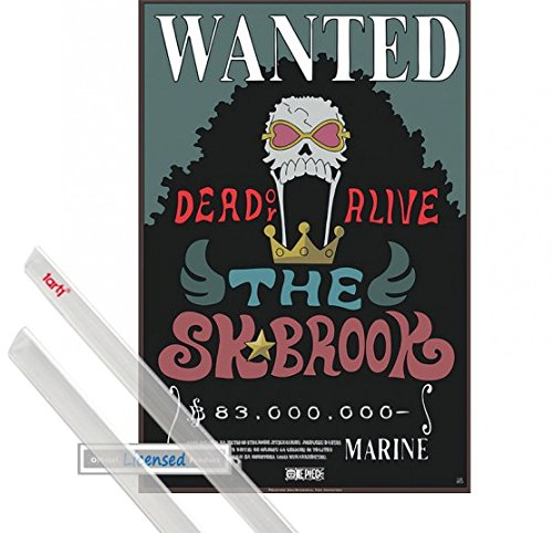 1art1 Poster + Hanger: One Piece Mini Poster (20x14 inches) Wanted The Sk Brook and 1 Set of Transparent Poster Hangers