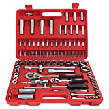 Voche® 94 Piece 1/2' and 1/4' Drive Socket, Ratchet and Bit Set with Carry Cas