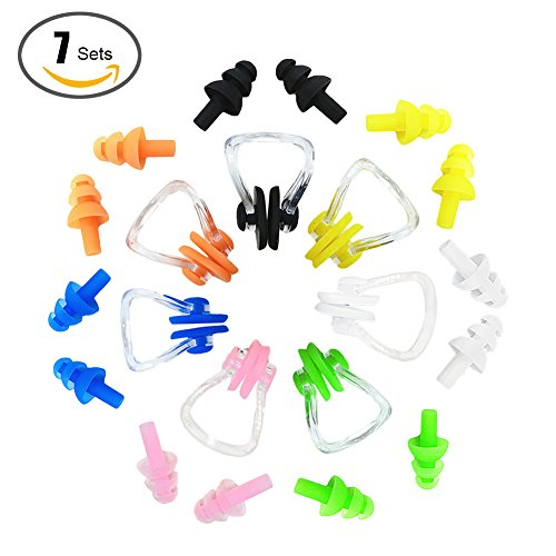 VEBE 7 Sets Waterproof Soft and Flexible Silicone Swimming Earplugs and Nose Clip - for Swimming, Sleeping, Surfing, Showering - for Adults and Children Flexible Nose