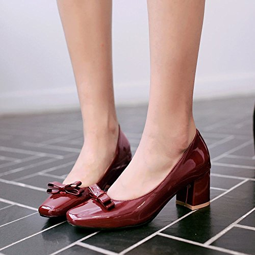 Carolbar Womens Square Toe Patent Leather Bows Mid Heel Pumps Dress Shoes Deep Red VTUQmnnsp