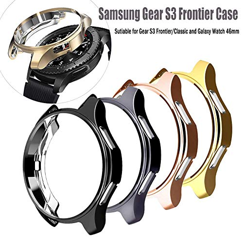 Case Compatible for Samsung Gear S3 Frontier SM-R760,HMJ Band All-Around Protective Bumper Slim Plated TPU Case Scratch-Proof Cover Shell for Samsung Gear S3 Frontier/Classic Galaxy Watch 46mm SM-R800