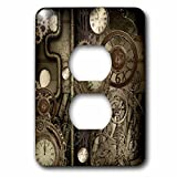 3dRose (lsp_262388_6) 2 Plug Outlet Cover (6) 2 Steampunk Design, Clocks and Gears