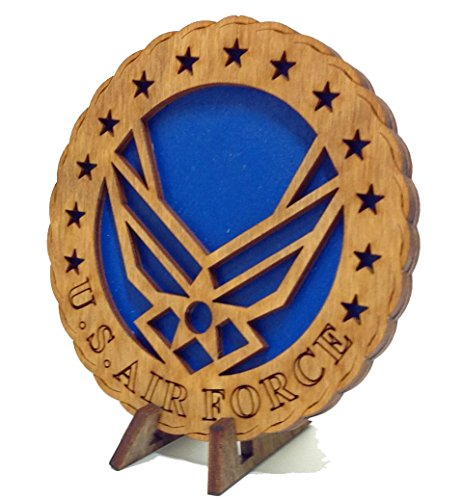 CLA Armed Forces Air Force Military Decorative Laser Three Dimensional Wooden Desk Plaque - Contemporary Emblem