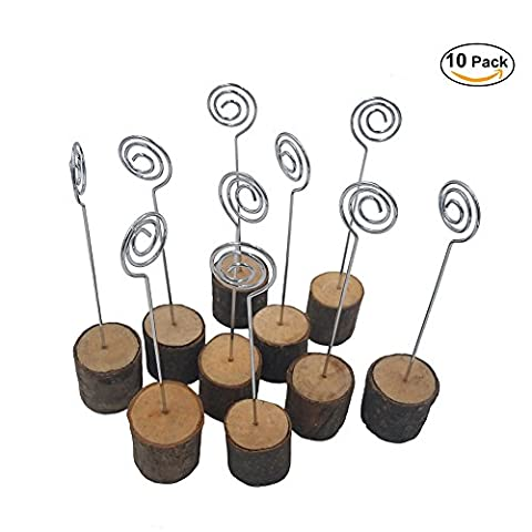 K.MAX Rustic Real Wood Base Photo Clip ,Table Card Holders for Wedding Party Decoration(10 pack) - Tree Place Card