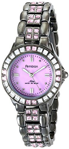 Armitron Womens 753689PMDG Pink Swarovski Crystal Accented Gunmetal Bracelet Watch