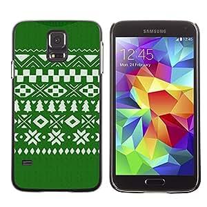 Be Good Phone Accessory // Dura Cáscara cubierta Protectora Caso Carcasa Funda de Protección para Samsung Galaxy S5 SM-G900 // Pattern Christmas Green White