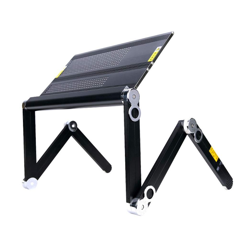 XJY Laptop Table Bed Folding Table Aluminum Alloy Cooling Computer Desk Portable (fanless) (Color : Black, Size : 45cm)