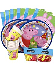 JuniorToys Peppa Pig party set 64 delar med tallrikar koppar ballonger och servetter – Peppa Wutz barns födelsedag