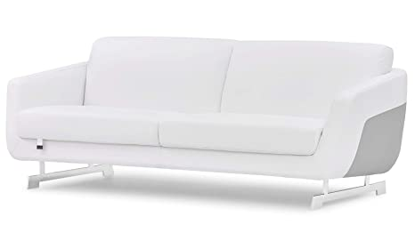 Zuri Furniture Modern Armondo Sofa in Two Tone White Microfiber Leather and Grey Accent