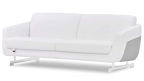 Zuri Furniture Modern Armondo Sofa in Two Tone White Microfiber Leather and Grey Accent