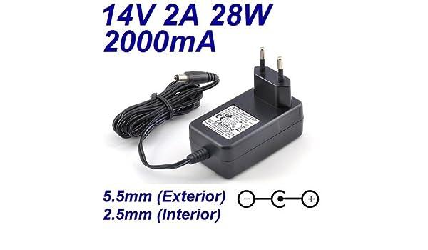 Cargador Corriente 14V 2A 2000mA 5.5mm 2.5mm 28W: Amazon.es ...