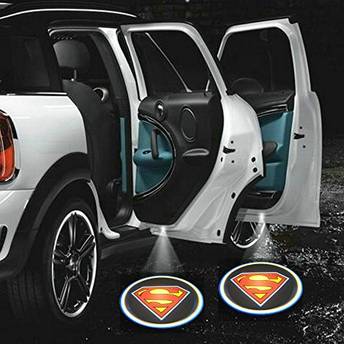 ZOZ 2pcs Wireless No Drill Type LED Laser Car Door Light Welcome Projector Light Logo Ghost Shadow Emblems Magnet Sensor Easy Installing (Superman)