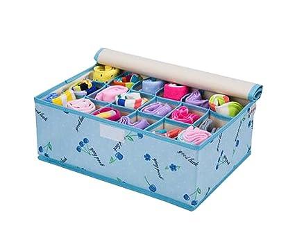 East Majik Foldable Home Small Item Organizer Socks/Underwear Storage Box  18 Grids