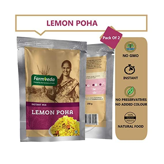 Farm Veda Healthy and Tasty Ready to Eat Instant Breakfast Meal Lemon Poha Mix 250 g Each (Pack of 2)