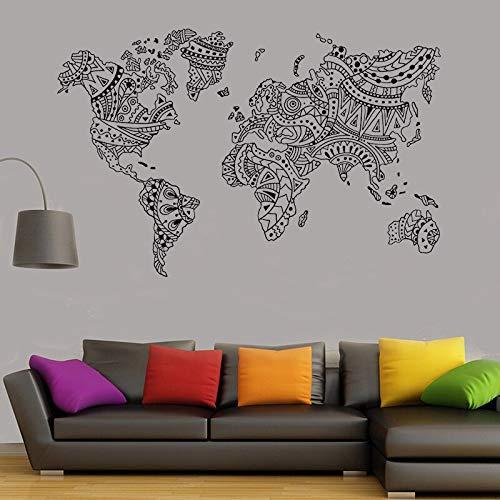 muzi928 Mapa del Mundo Mandala Tatuajes de Pared Boho Ideas de ...
