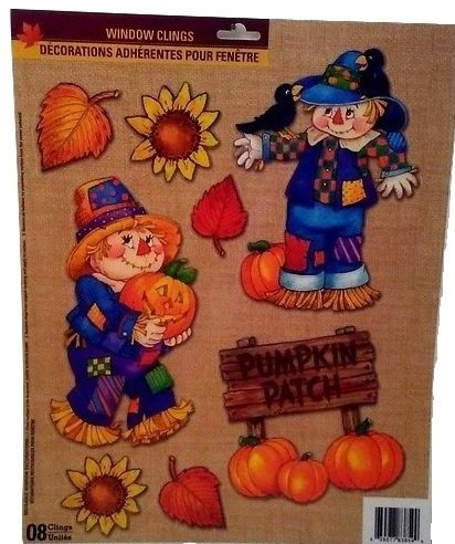 [Autumn Fall Thanksgiving Harvest Pumpkin Leaves Decorations Window Cling Stickers C] (Captain America First Avenger Halloween Costume)