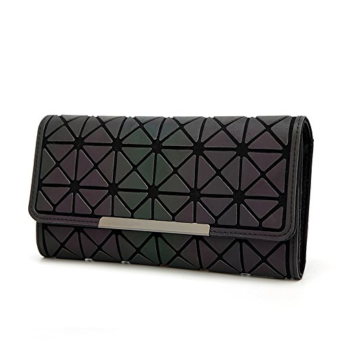 Leather Wallet blackb Handbag Purse Women Party Luminous for Luminous Fashion Evening Clutch Geometric Envelope dHO5qWwSq