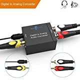 Goronya Digital Optical Coax to Analog RCA Audio Converter and 3.5mm (Headphone) Outpouts, 24-bit DAC with DC 5V Power Supply Adapter