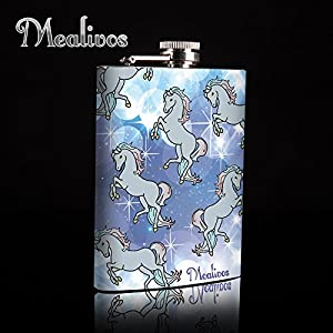 Mealivos Unicorn Stainless Steel Flask, 8-Ounce