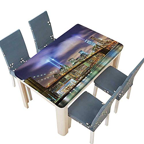 (PINAFORE Natural Tablecloth Manhattan Skyline with Brooklyn Bridge and The Towers of Lights in Puple Green for Home Use, Machine Washable W73 x L112 INCH (Elastic Edge))
