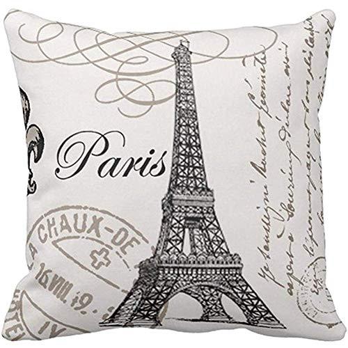 Throw Pillow Cover Eiffel Vintage Tower Fleurdelis Postage Stamps Europe Decorative Pillow Case Home Decor Square 18 x 18 Inch Pillowcase