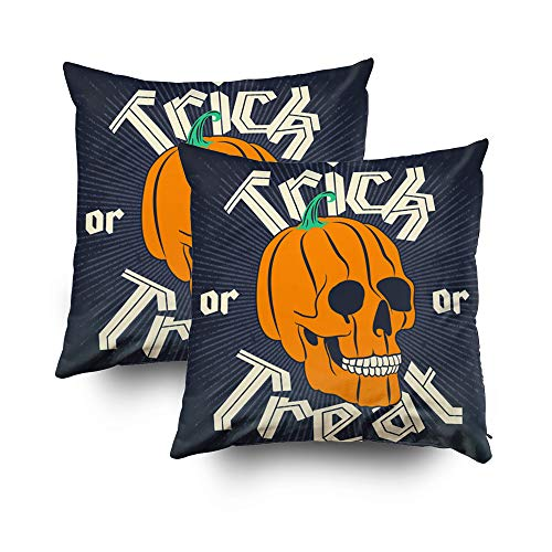 Capsceoll 2PCS Christmas Halloween Pumpkin Skull Dark Decorative Throw Pillow Case 20X20Inch,Home Decoration Pillowcase Zippered Pillow Covers Cushion Cover with Words for Book Lover Worm Sofa Couch